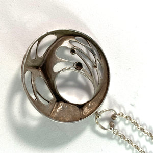 Karl Laine for Sten & Laine Finland year 1974 Sterling Silver Spider Web Pendant Necklace.