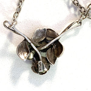 Teka, Germany Mid Century Sterling Silver Rose Flower Pendant Necklace.