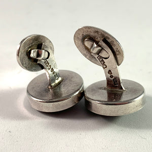 Stenlya, Sweden year 1967 Sterling Silver Syenite Stone Pair of Cufflinks