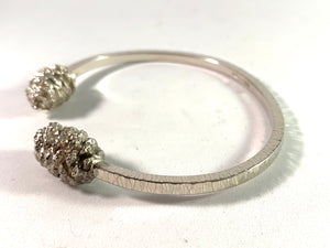 Sweden, Vintage Chunky Sterling Silver Fir Cone Open Bangle Bracelet.