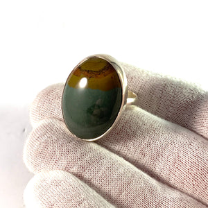 Sweden, Vintage Sterling Silver Agate Large Ring.