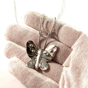 Sweden, Vintage Sterling Silver Large Butterfly Pendant Necklace.