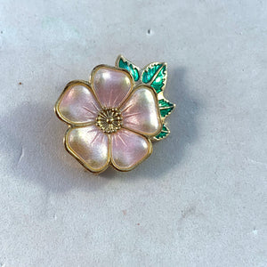 David-Andersen, Norway Vintage Sterling Silver Enamel Sweet Briar Rose Brooch Pin.