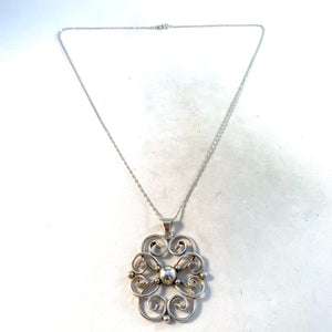 Mid Century Swedish Import Solid 830 Silver Pendant Necklace.