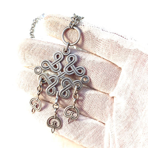 Kalevala Koru, Finland 1943 Early War-Time Sterling Silver Pendant Necklace.