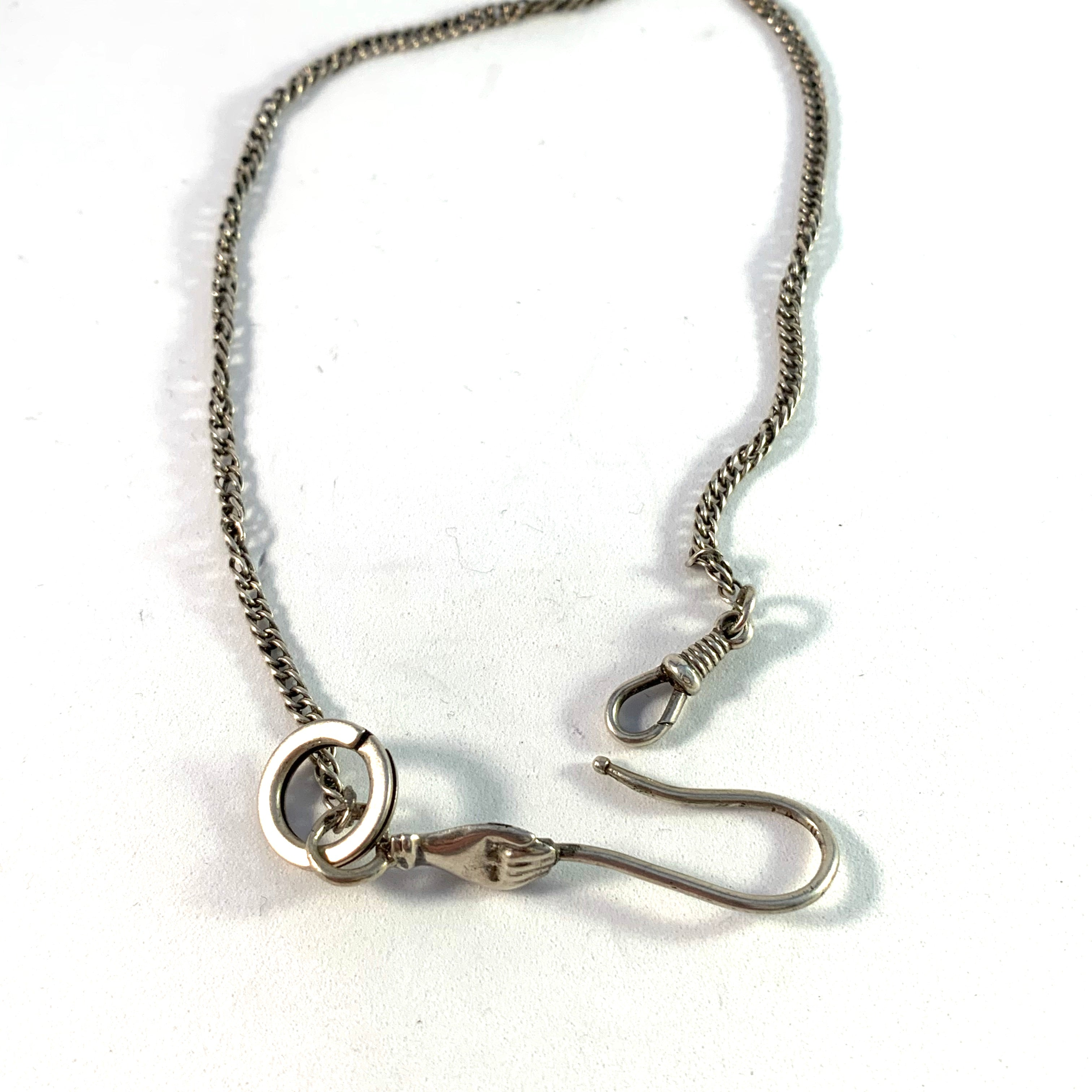 Victorian 830 Silver Watch Chatelaine Chain
