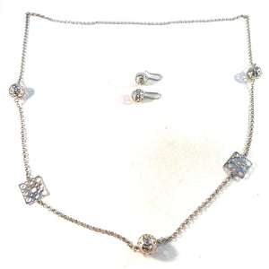 Liisa Vitali for Kultakeskus, Finland, Vintage Sterling Silver Necklace and Earrings
