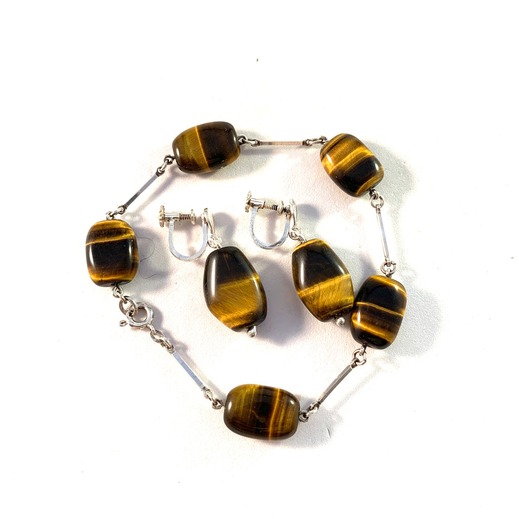 Victor Janson, Sweden. Vintage mid Century Solid Silver Tiger Eye Earrings and Bracelet.