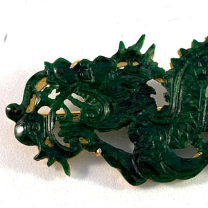 Vintage Chinese 14k Gold Carved Jade Dragon Brooch.