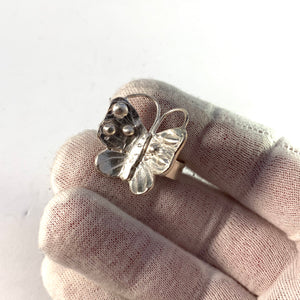 Sweden, Vintage Sterling Silver Butterfly Ring.