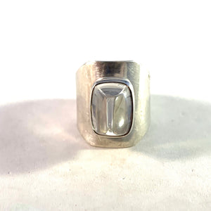 Swedish Import 1960s Solid 835 Silver Acrylic Modernist Space Age Ring.
