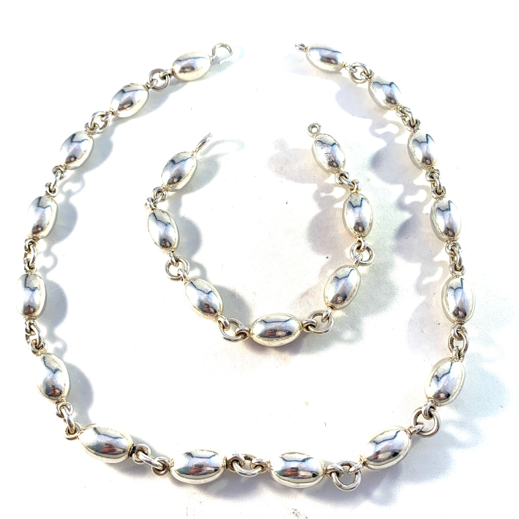 Signed Bertel Gardberg for Kalevala Koru, Finland 1965 Massive 6.56oz Silver Bracelet and Necklace or Longer Necklace