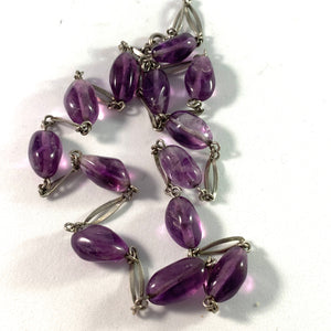 Swedish Import Mid Century Solid Silver Amethyst Necklace.