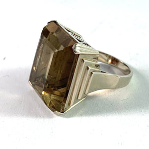 S C Fough, Denmark Mid Century 14k White Gold Quartz Cocktail Ring. 23.5gram