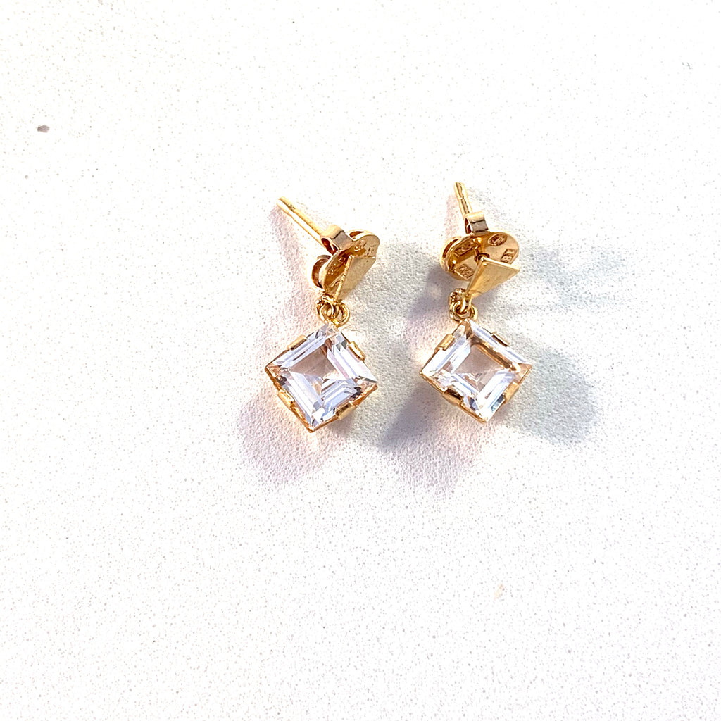 Alton, Sweden year 1970 Modernist 18k Gold Rock Crystal Pair of Earrings