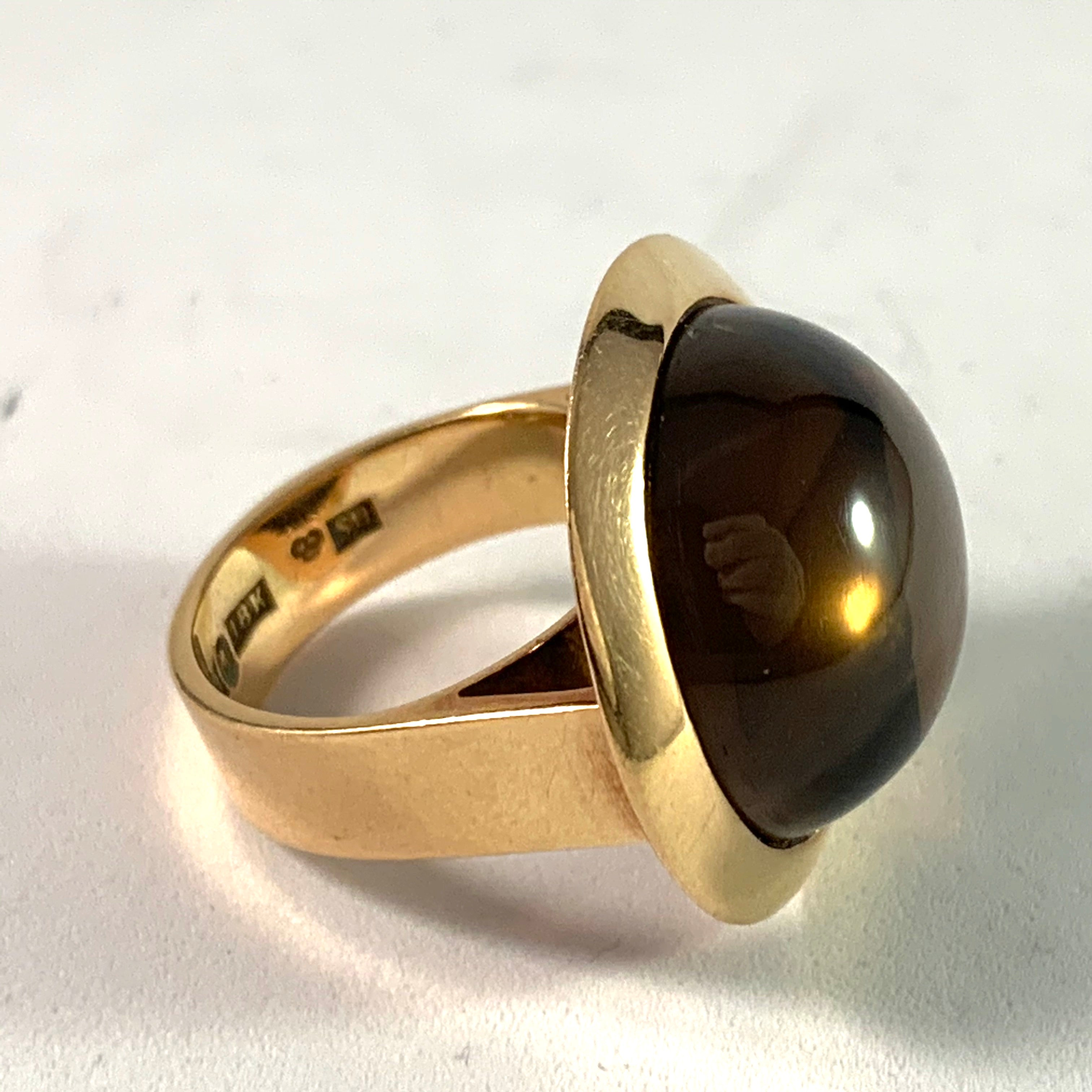 Isaac Cohen, Stockholm 1968, Massive 18k Gold Smoky Quartz Ring