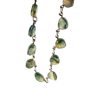 Stockholm, Sweden c 1970s Sterling Silver Moss Agate Necklace.