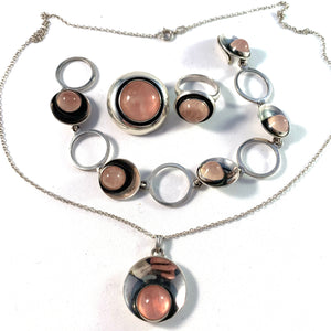 Niels Erik From, Denmark Vintage 1950s Sterling Silver Rose Quartz Set
