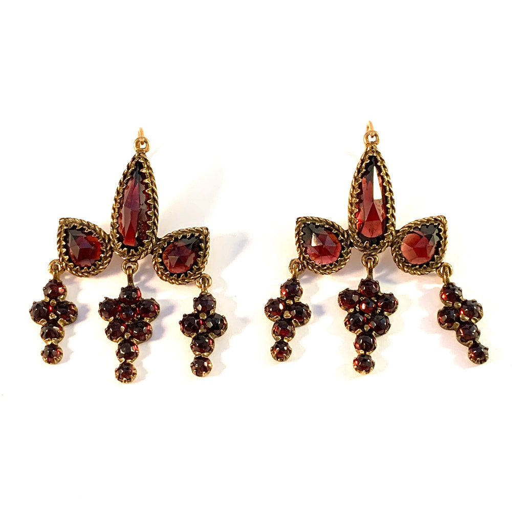 Antique early 1900s Bohemian Garnet Gold Gilt Chandelier Earrings.