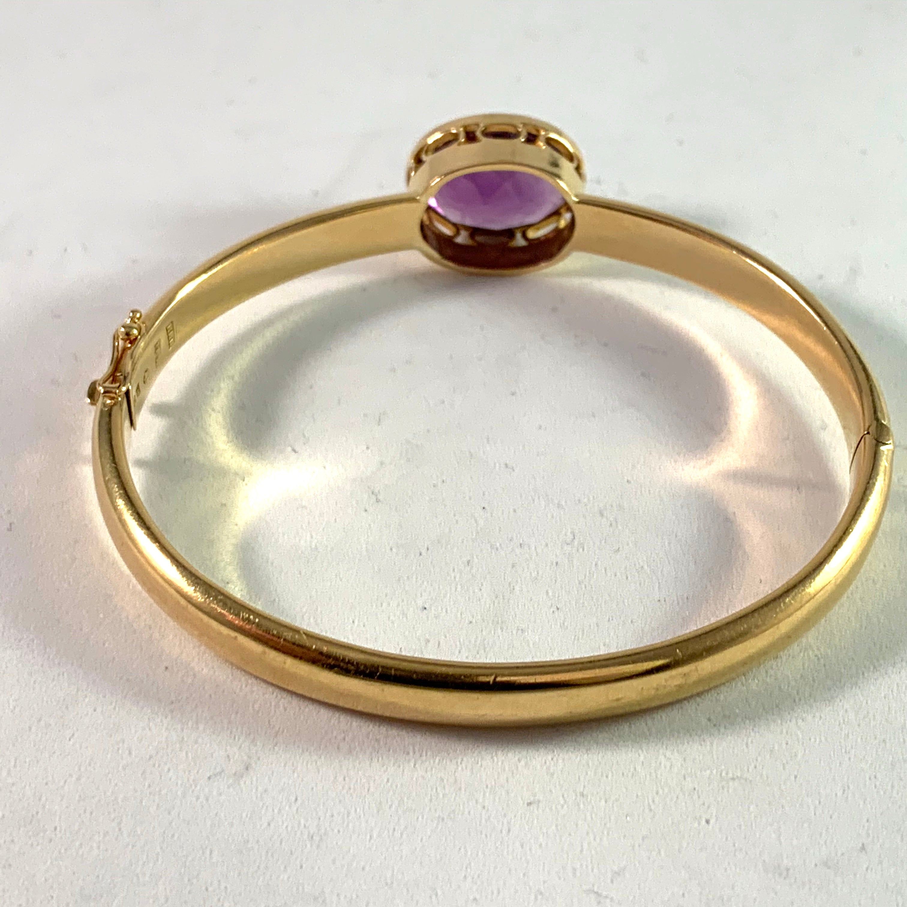 Harry Hermanson, Sweden year 1956, 18k Gold Amethyst Bangle.