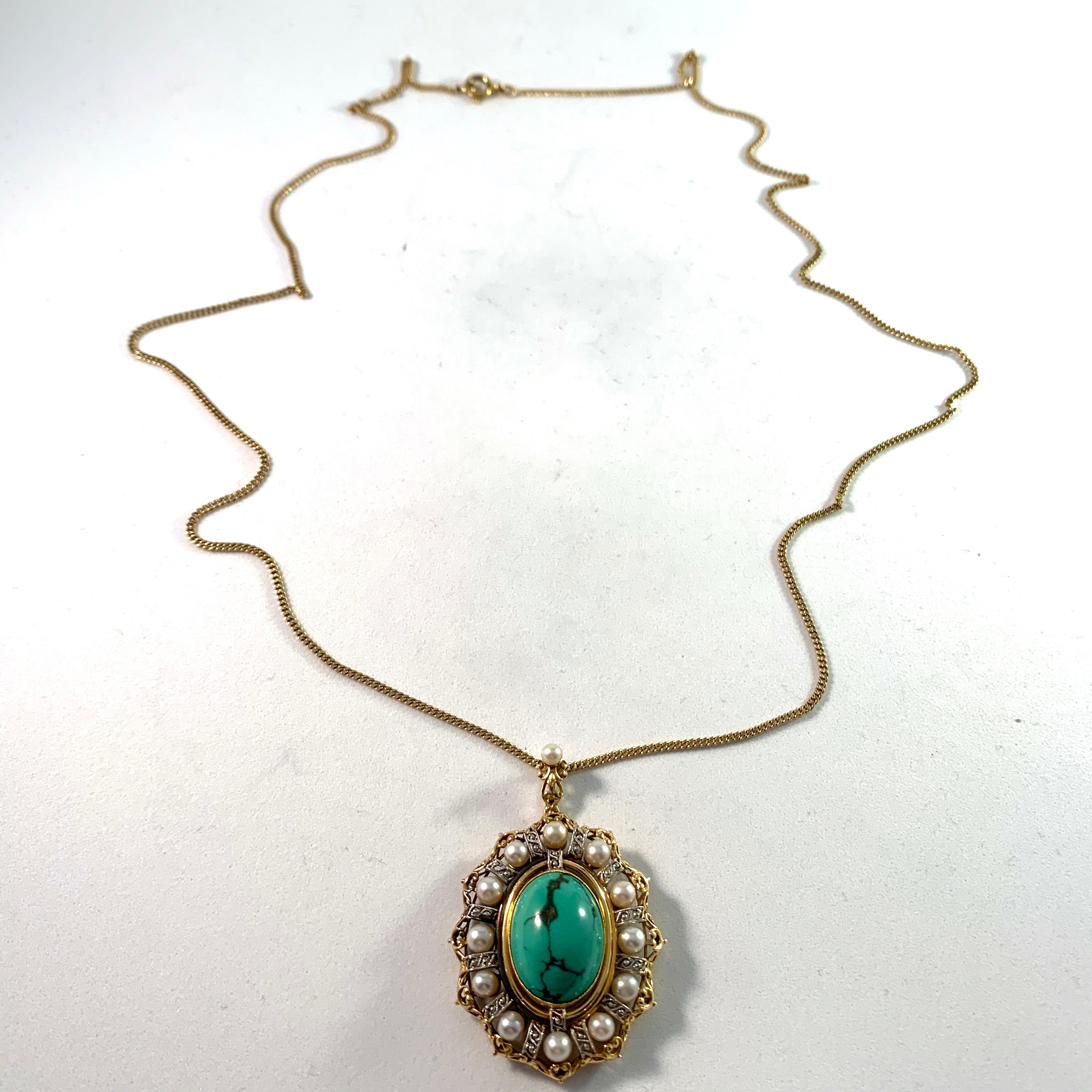 Edwardian 18k Gold Turquoise Pearl Pendant Necklace.