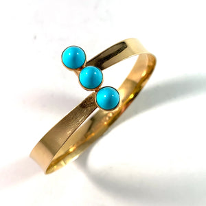 PeGe for Alton, Sweden 1966 18k Gold Turquoise Bangle Bracelet.