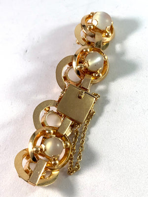 Sweden year 1973 Massive 1.84oz Modernist 18k Gold Moonstone Bracelet.
