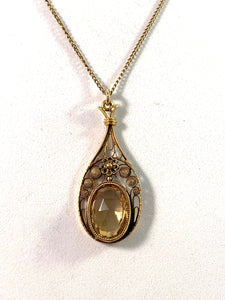 Edwardian Art Nouveau 18k Gold Citrine Pendant Necklace