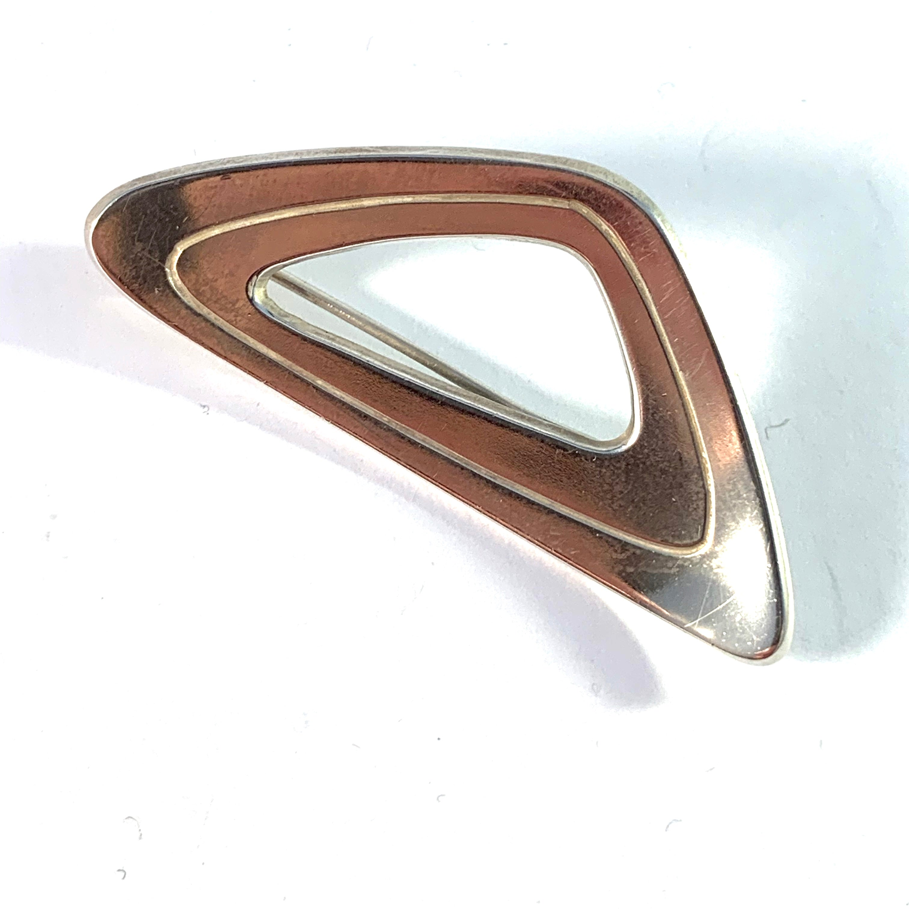 Persö, for Hedberg, Sweden 1961 Mid Century Modern Sterling Silver Brooch. Signed.