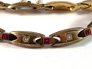Russia year 1908-17 Antique 14k Gold Diamond Ruby Bracelet