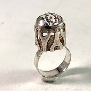 Germany / Austria 1960 Modernist Solid 835 Silver Rock Crystal Ring.