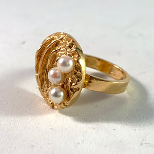 Liedholm for Ateljé Candra 1968 Modernist 18k Gold Pearl Ring. Signed