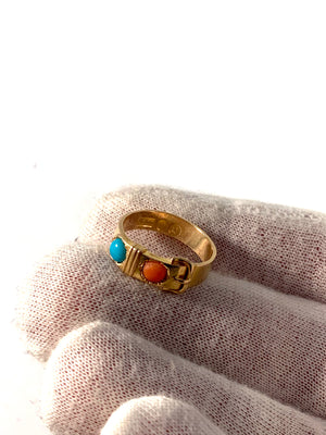 London 1861 Victorian 15k Gold Coral Turquoise Belt Buckle Ring.
