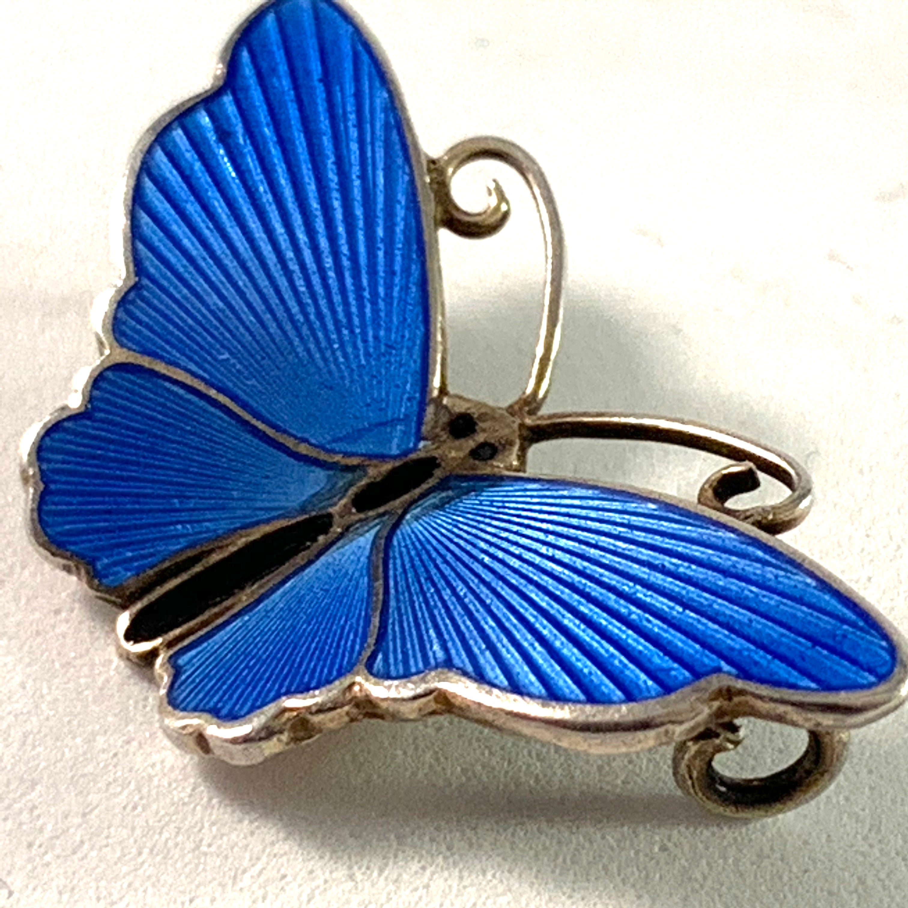 Norway Mid Century Sterling Enamel Butterfly Brooch