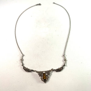 Germany 1920s Silver Quartz Marcasite Necklace.