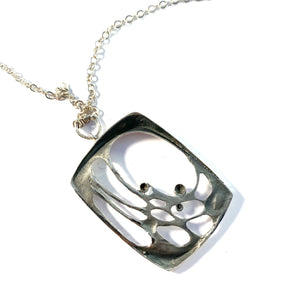 Karl Laine for Sten & Laine Finland year 1975 Sterling Silver Spider Web Large Pendant Necklace.