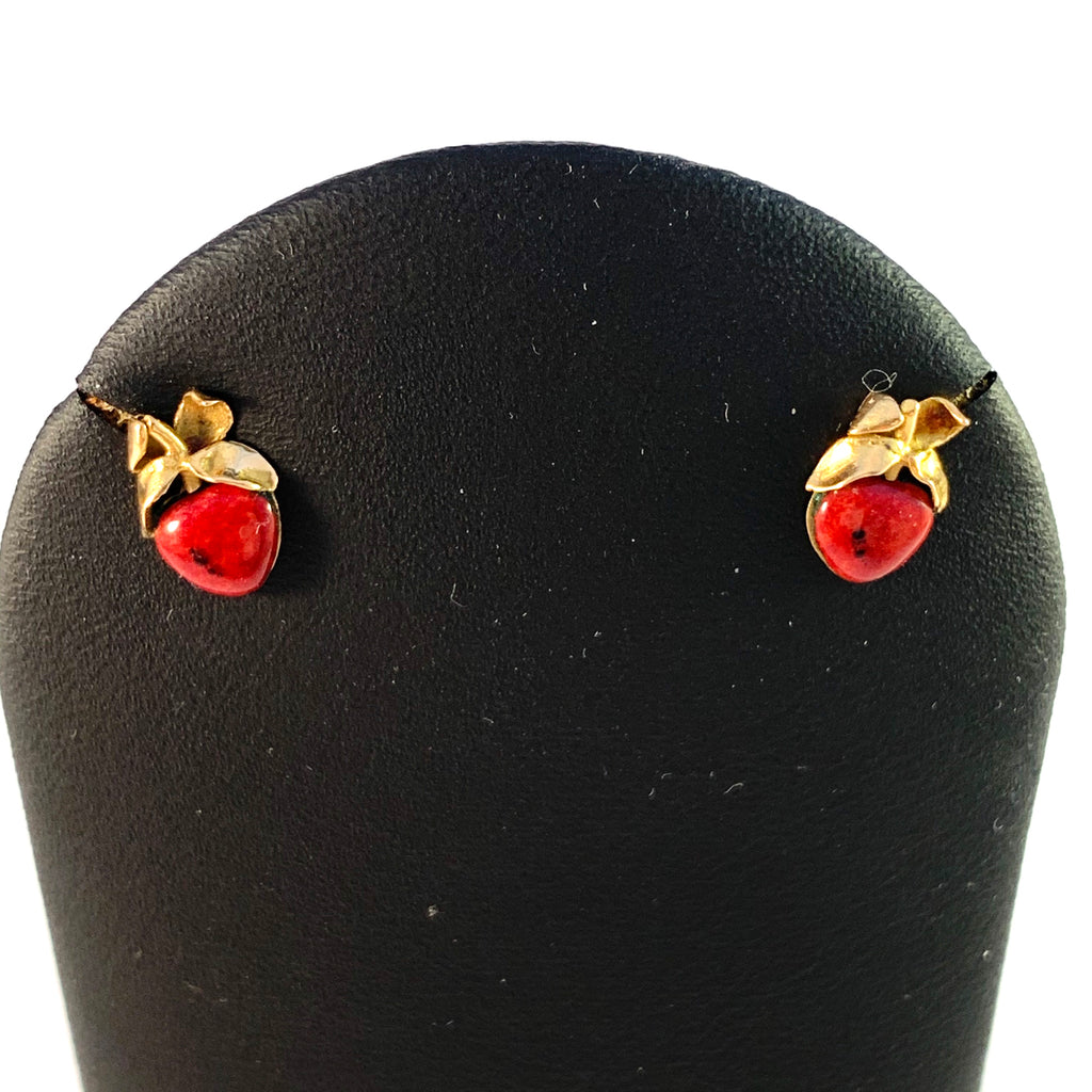 Claes E Giertta, Stockholm Vintage 18k Gold Enamel Apple Stud Earrings. Signed