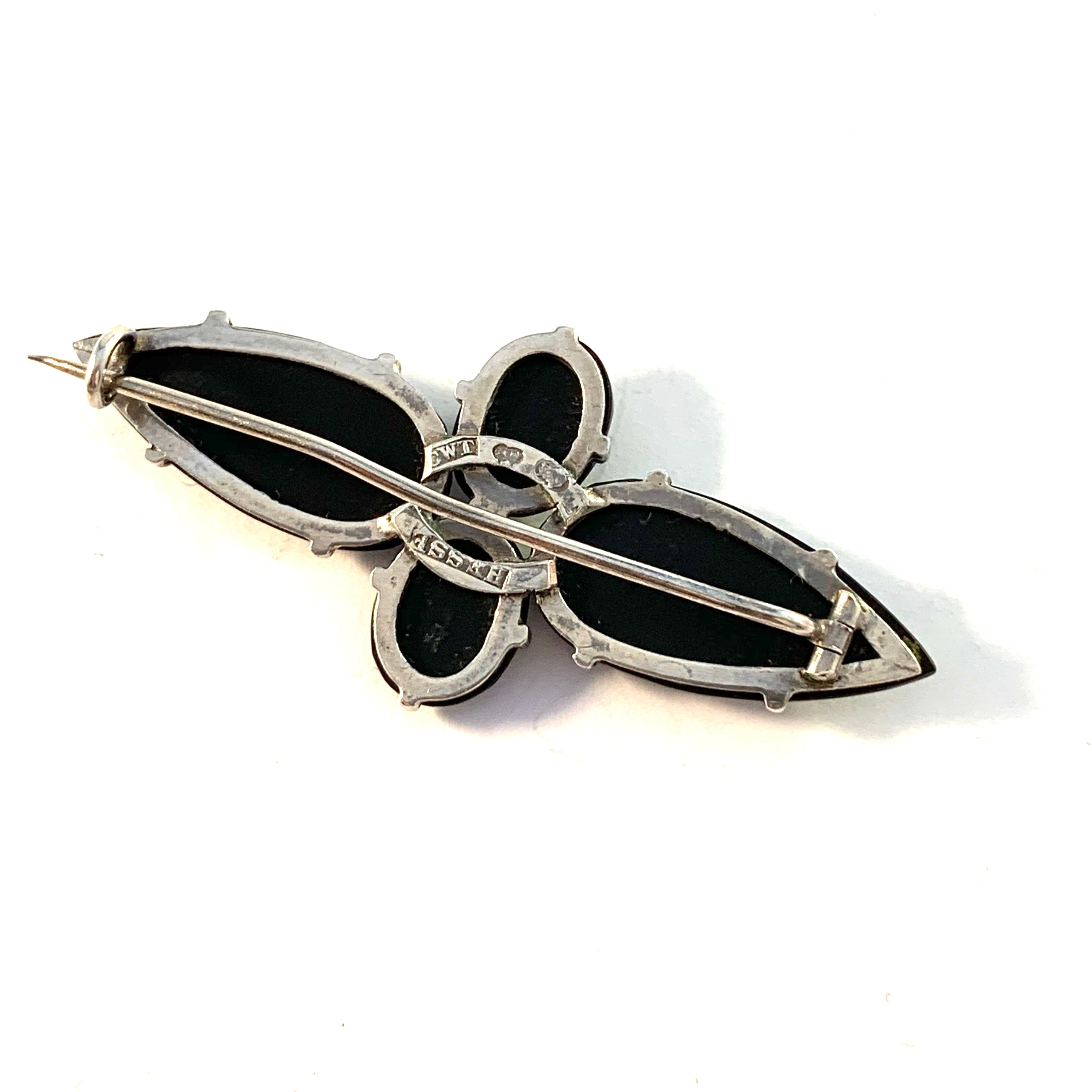 C W Täckholm, Stockholm c year 1910 Solid Silver French Jet Mourning Brooch.