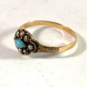 Antique Victorian 18k Gold Seed Pearl Paste Ring.