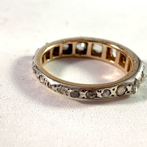 Antique Platinum Gold Rose Cut Diamond Eternity Ring.