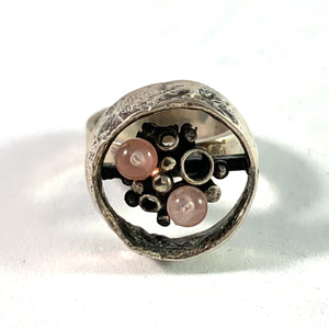 Perli, Germany Modernist Rose Quartz Silver Ring.