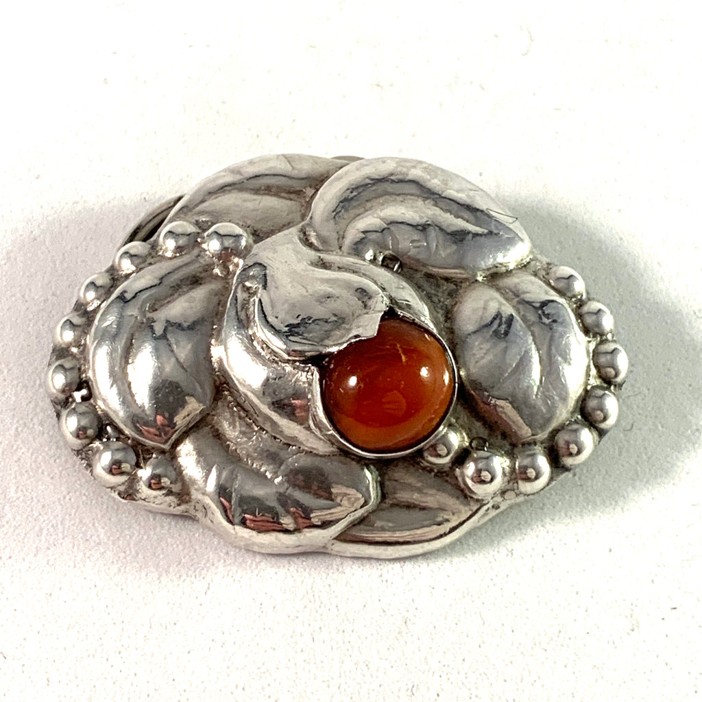 Denmark 1910s Art Nouveau Silver Amber Brooch Converted To Scarf Clip.