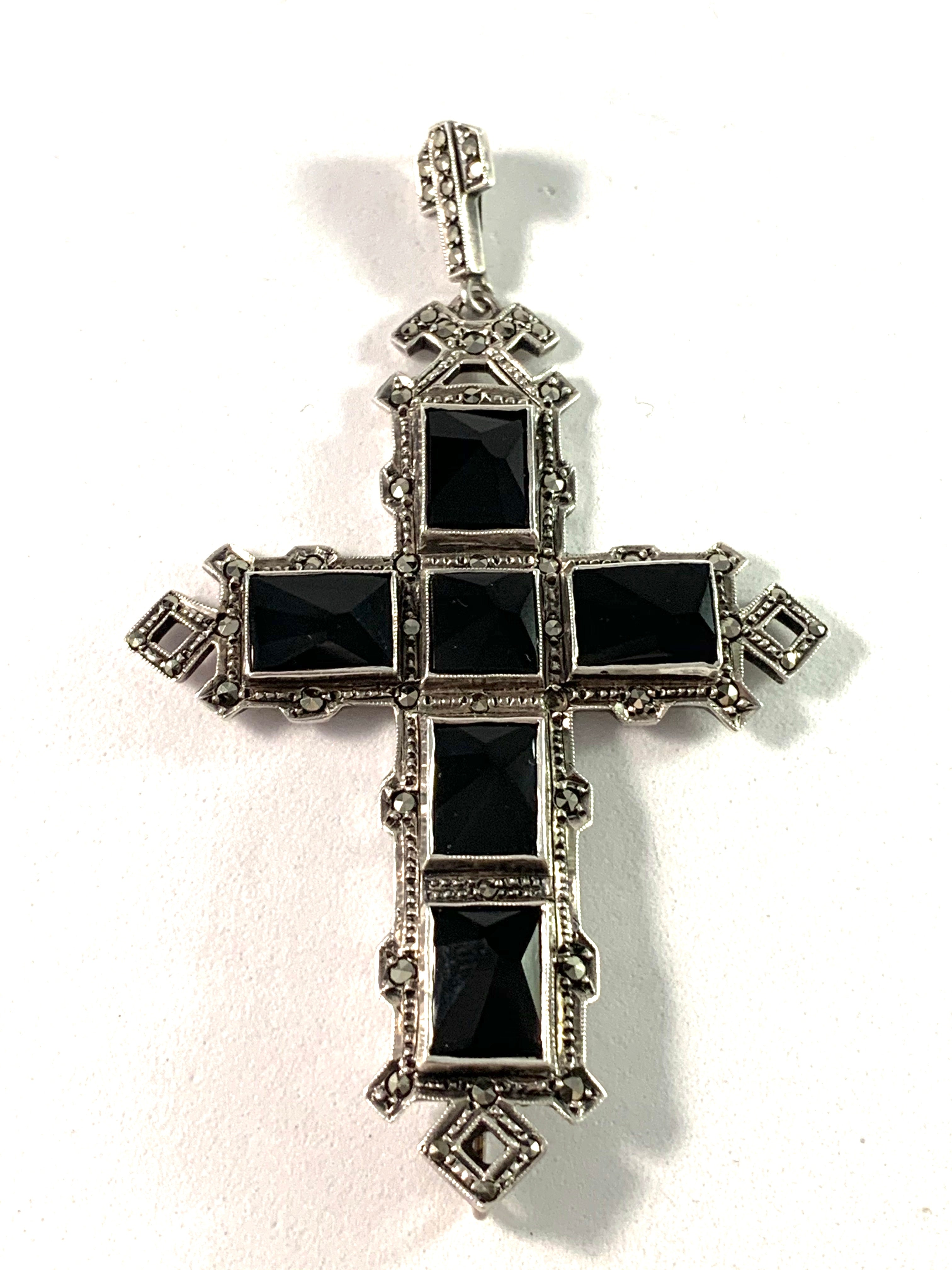 Albert Scharning, Norway early 1900s  Solid Silver Onyx Mourning Cross Pendant.