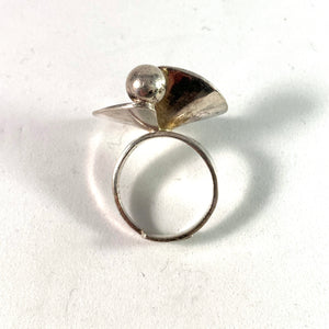 Alton, Sweden year 1972 Sterling Silver Modernist Ring.