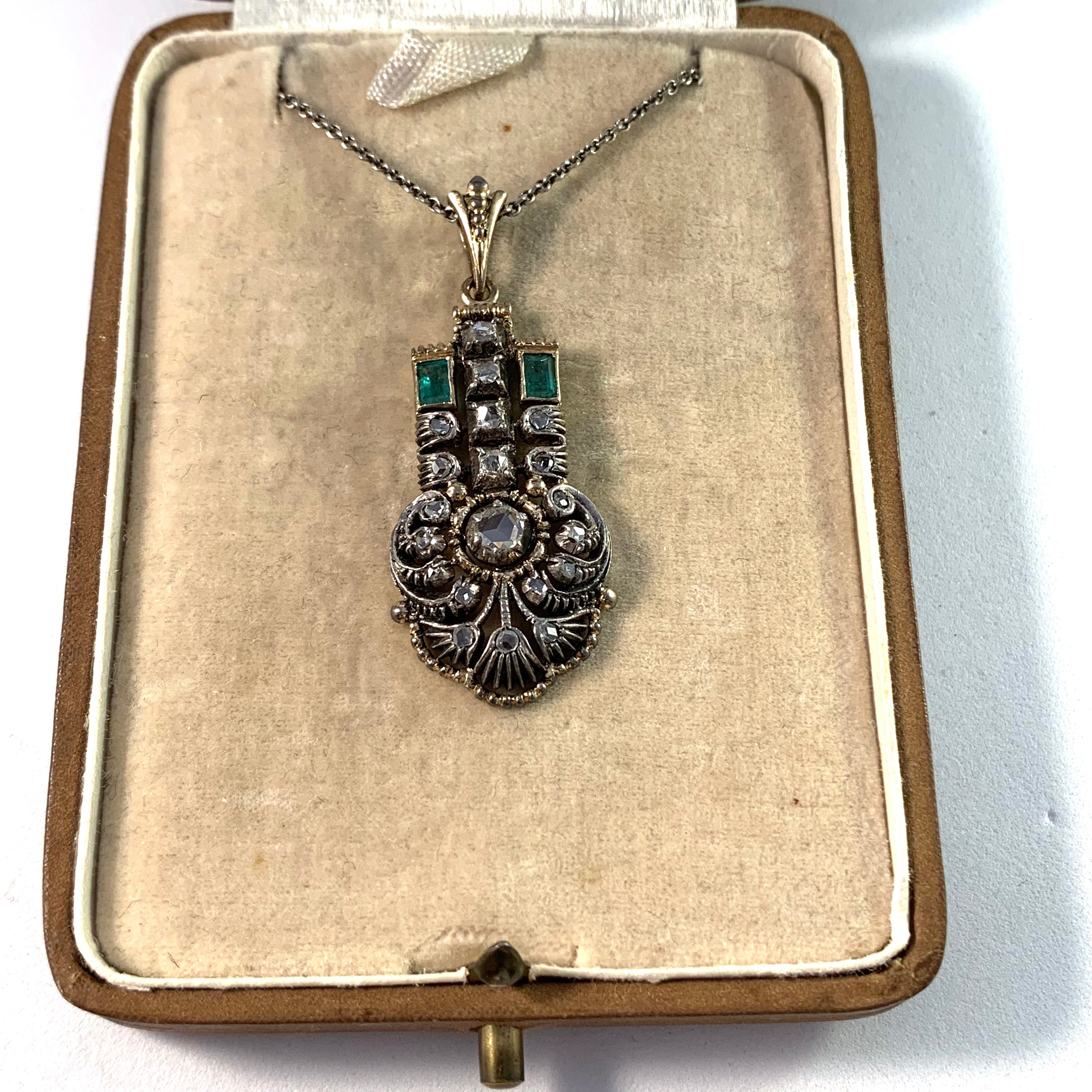 Art Deco 18k Gold Diamond Emerald Pendant.