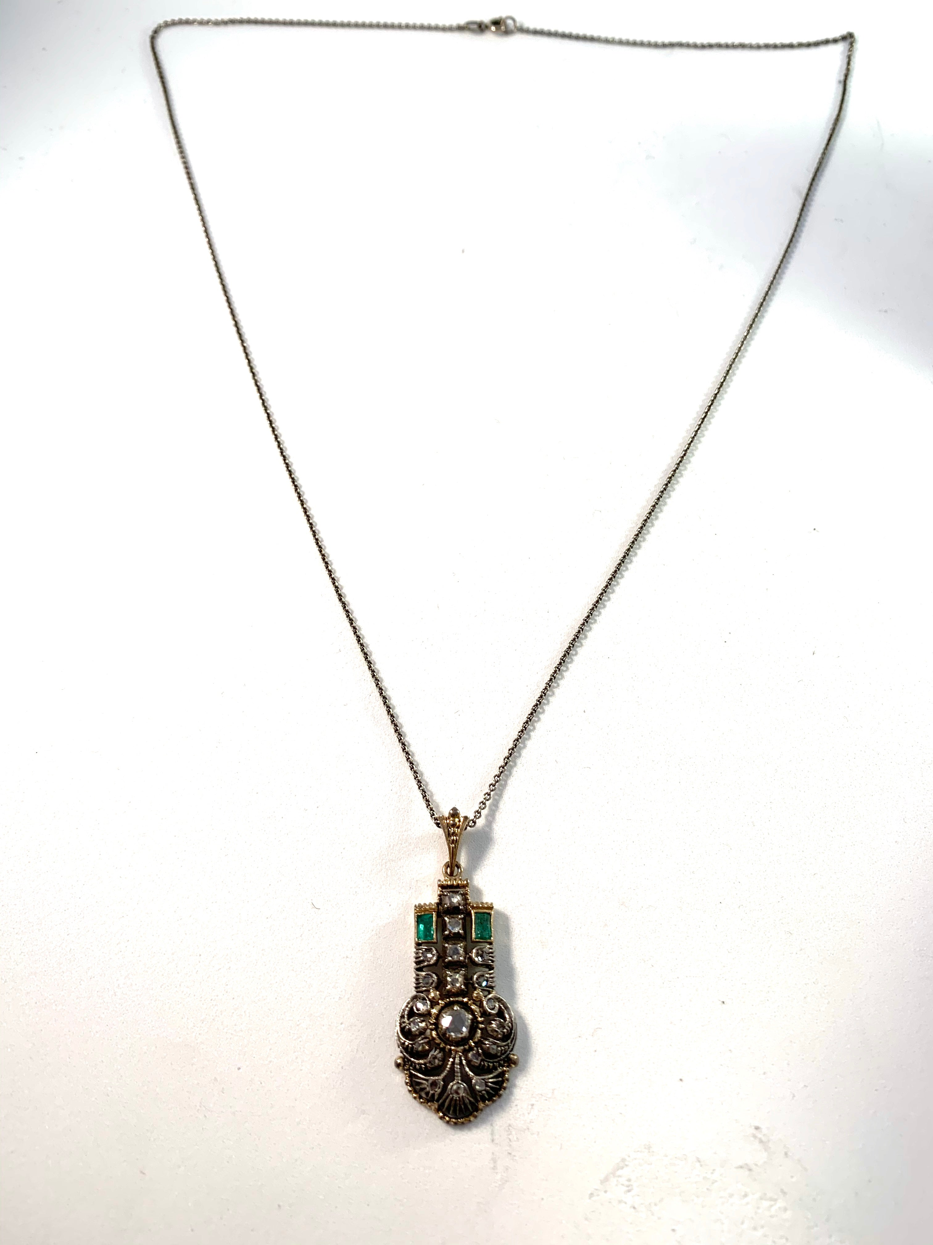 Dahlgren, Sweden 1930 Art Deco 18k Gold Diamond Emerald Pendant.