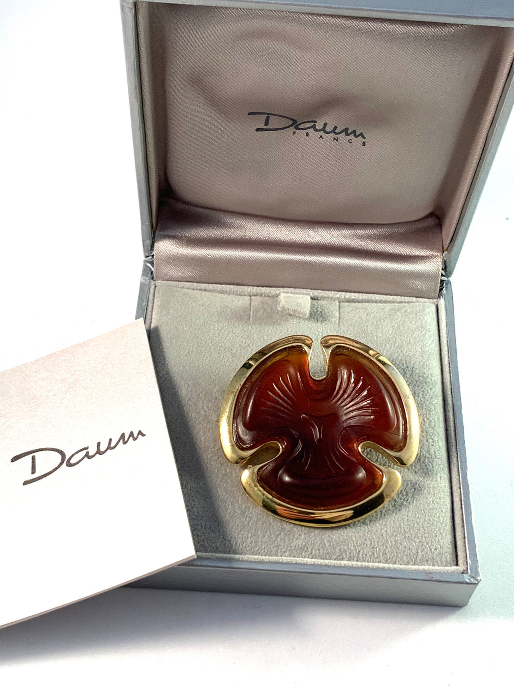 Daum, France Art Glass Gilt Sterling Brooch. Original Box.