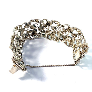 1940s Massive Sterling Silver Rose Flower Bracelet.
