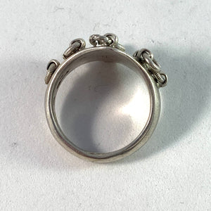 Piteå, Sweden early 1900s, Solid Silver Traditional Sami Ring.
