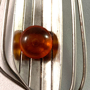 Fischland Ostseeschmuck, Germany 1960s Large 835 Silver Amber Pendant Necklace.